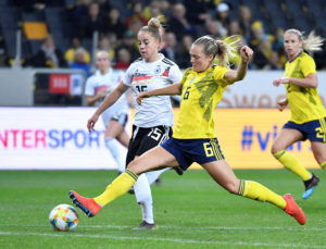 Sweden's Magdalena Eriksson in action with Germany's Giulia Gwinn. Naina Helen Jama/TT News Agency/via Reuters