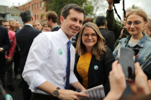 Democratic presidential candidate Mayor Pete Buttigieg takes photos with supporters as he campaigns in Los Angeles, California, on May 9, 2019. Photo by Lucy Nicholson/Reuters