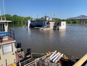 The Peoria Lock and Dam is shown surrounded by flood waters of the Mississippi River in Peoria, Illinois, U.S., May 16, 2019. Picture taken May 16, 2019. Photo courtesy: U.S. Army Corps of Engineers/Rock Island District/Handout via Reuters