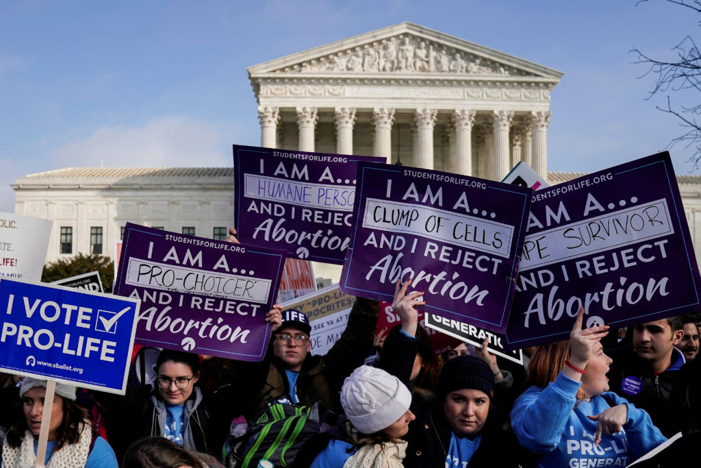 Anti-abortion marchers rally at the Supreme Court during the 46th annual March for Life in Washington, on January 18, 2019. Some state lawmakers have said the bills they are pushing aim to ultimately overturn Roe v. Wade. Photo by Joshua Roberts/Reuters