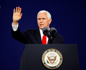 Vice President Mike Pence waves to the audience at the end of his commencement speech at Liberty University in Lynchburg, Virginia, on May 11, 2019. Photo by Jonathan Drake/Reuters