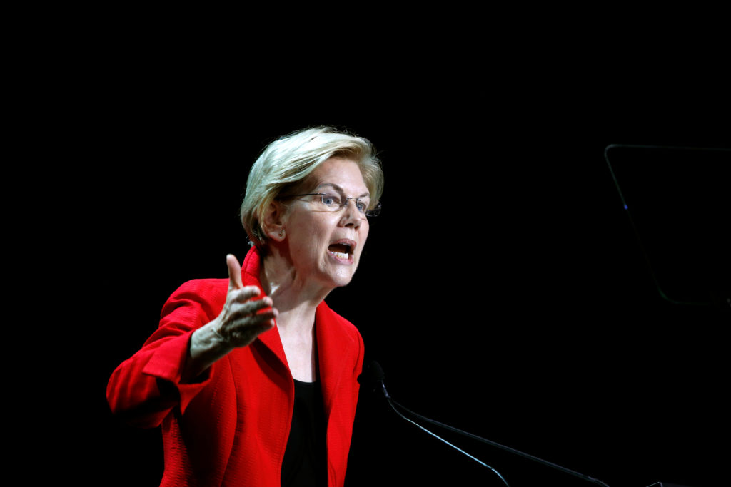 Democratic presidential candidate and U.S. Senator Elizabeth Warren, D-Mass., speaks during the California Democratic Convention in San Francisco, California, on June 1, 2019. Photo by Stephen Lam/Reuters