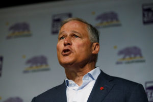 Democratic presidential candidate and Washington State Governor Jay Inslee campaigns during a SEIU California Democratic Delegate Breakfast in San Francisco, California, on June 1, 2019. Photo by Stephen Lam/Reuters