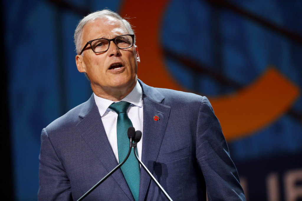 Democratic presidential candidate and Washington State Governor Jay Inslee speaks during the California Democratic Convention in San Francisco, California, on June 1, 2019. Photo by Stephen Lam/Reuters