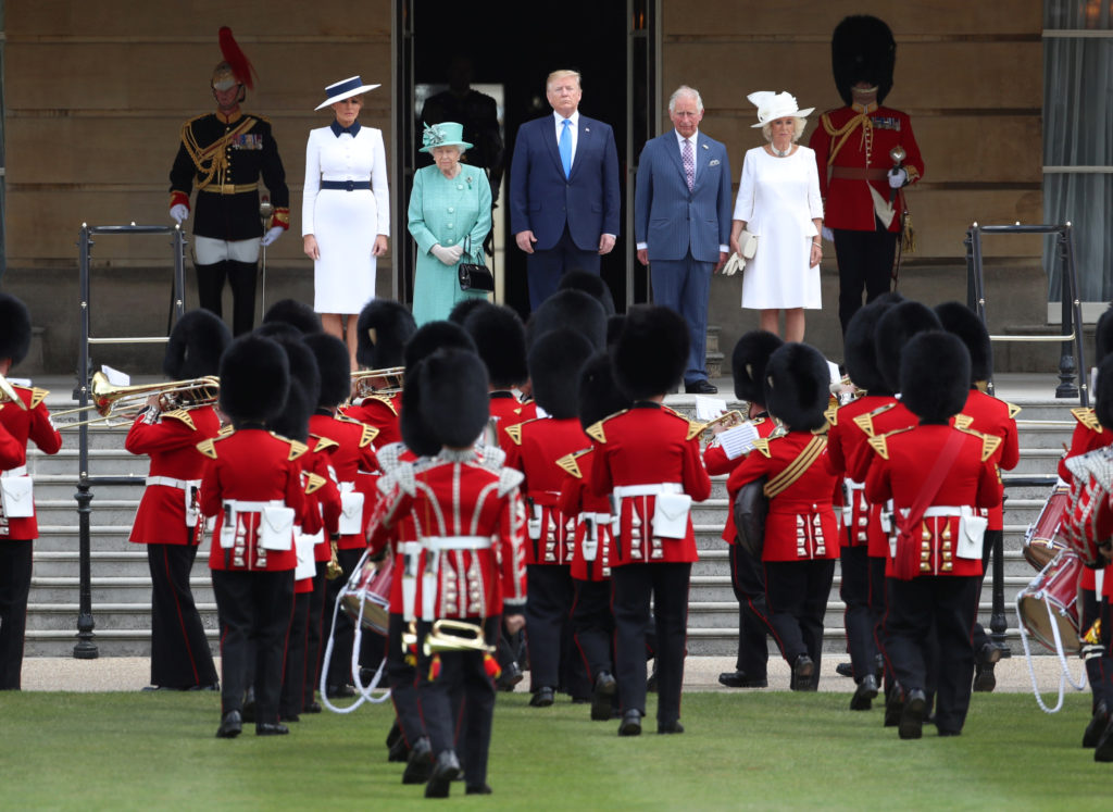 President Donald Trump and First Lady Melania Trump attend a welcome ceremony with Britain's Queen Elizabeth, Prince Charl...