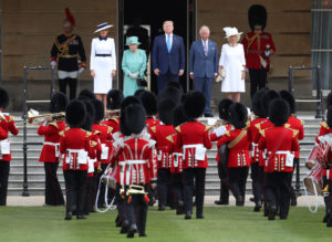President Donald Trump and First Lady Melania Trump attend a welcome ceremony with Britain's Queen Elizabeth, Prince Charles and Camilla, Duchess of Cornwall, at Buckingham Palace, in London, Britain, June 3, 2019. Photo by Simon Dawson
