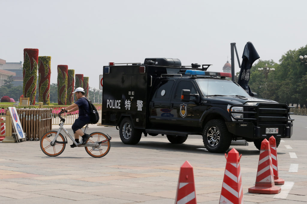 A police vehicle is deployed in Tiananmen Square in Beijing, China June 4, 2019.  Photo by Thomas Peter/Reuters