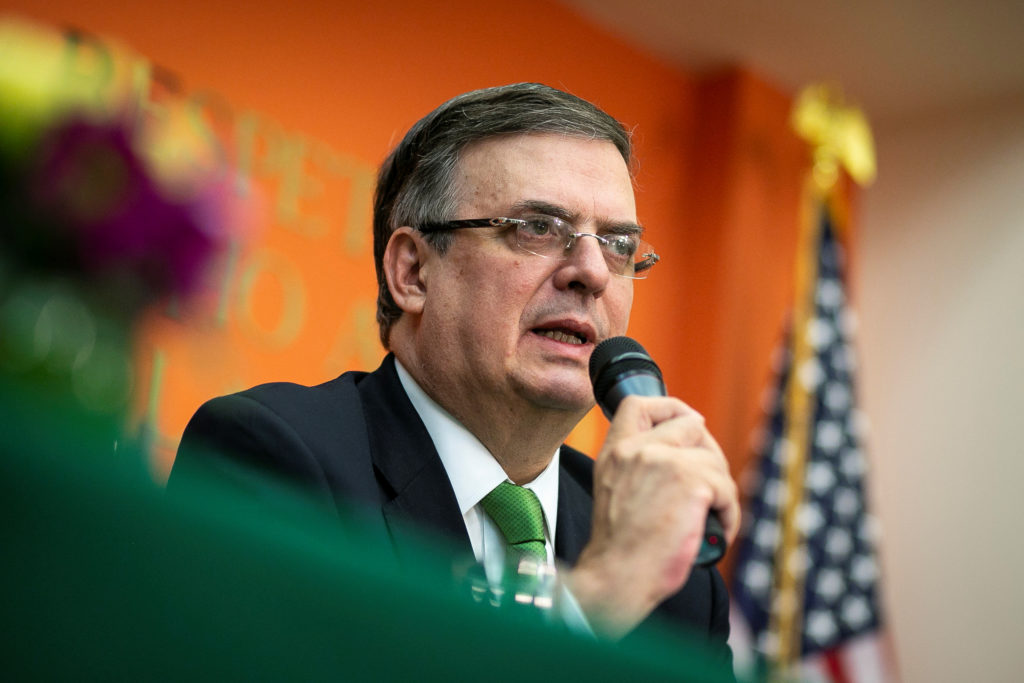 Mexico's Foreign Minister Marcelo Ebrard speaks during a news conference about the ongoing trade negotiations with the U.S...