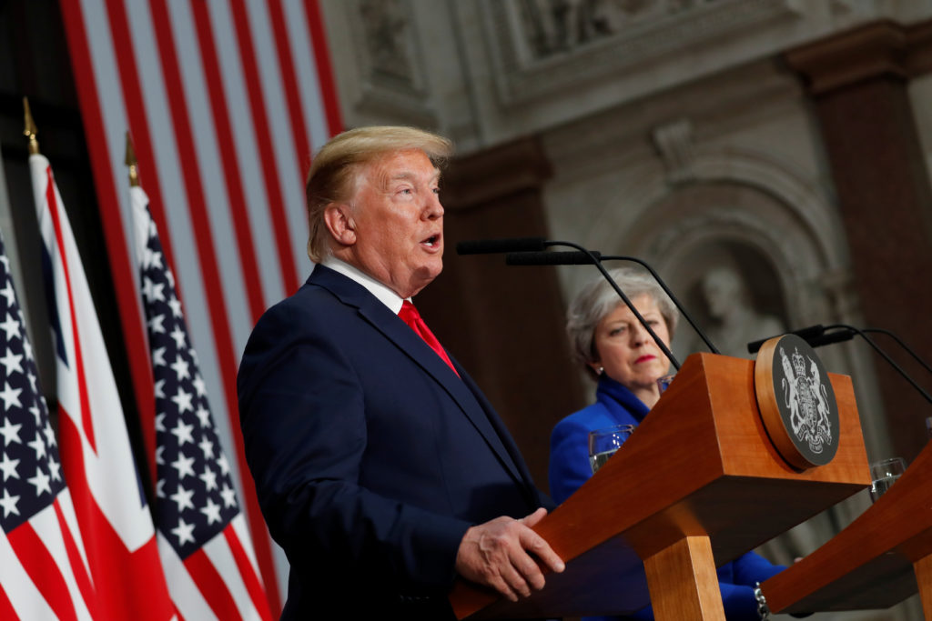 President Donald Trump and Britain's Prime Minister Theresa May hol…