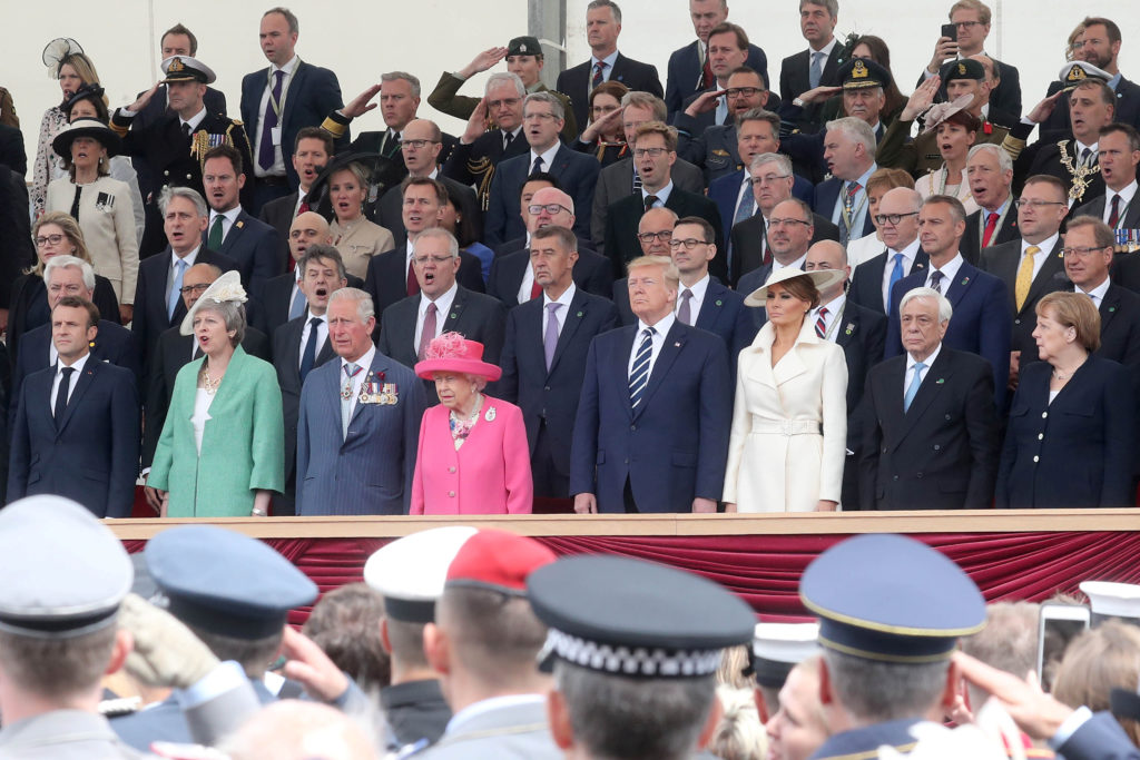 (Front row, left to right) French President, Emmanuel Macron, British Prime Minister, Theresa May, Prince Charles, Prince of Wales, Queen Elizabeth II, U.S. President Donald Trump, First Lady of U.S. Melania Trump, President of Greece, Prokopis Pavlopoulos and Chancellor of Germany, Angela Merkel attend the D-day 75 Commemorations event in Portsmouth, Britain, June 5, 2019. Photo by Chris Jackson/Pool via Reuters