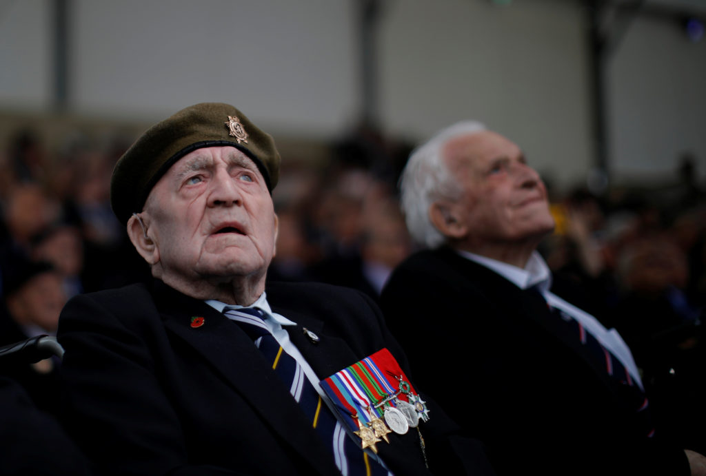 WWII D-Day veterans look on during the event to commemorate the 75th anniversary of D-Day, in Portsmouth, Britain, June 5, 2019. Photo by Carlos Barria/Reuters