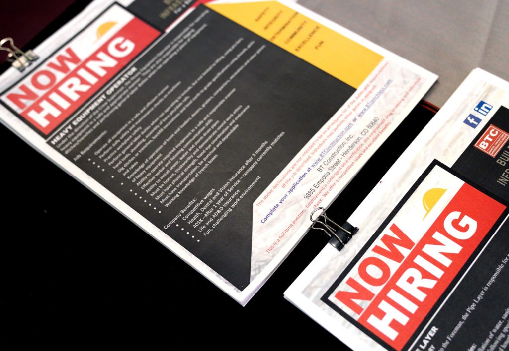 FILE PHOTO: Brochures are displayed for job seekers at the Construc…