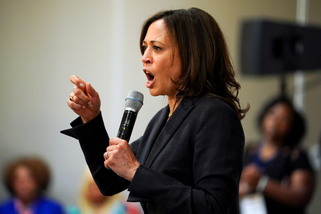 Democratic presidential candidate and U.S. Senator Kamala Harris speaks at a women voters meet and greet in Birmingham, Alabama, on June 7, 2019. Photo by Elijah Nouvelage/Reuters