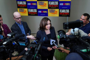 Democratic presidential candidate and U.S. Senator Kamala Harris speaks to the press following a meet and greet for women voters in Birmingham, Alabama, on June 7, 2019. Photo by Elijah Nouvelage/Reuters
