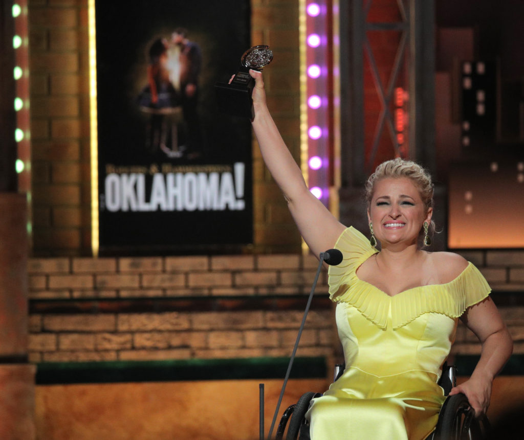 "Ali Stroker accepts the Featured Actress in a Musical award for ""Rodgers and Hammerstein's Oklahoma!"" Photo by Brendan McDermid/Reuters"