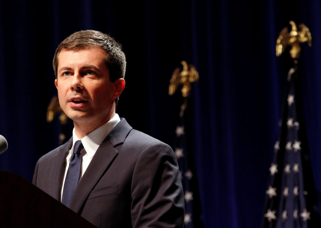 Democratic presidential candidate Mayor Pete Buttigieg delivers remarks on foreign policy and national security, in Bloomington, Indiana on June 11, 2019. Photo by John Sommers II/Reuters