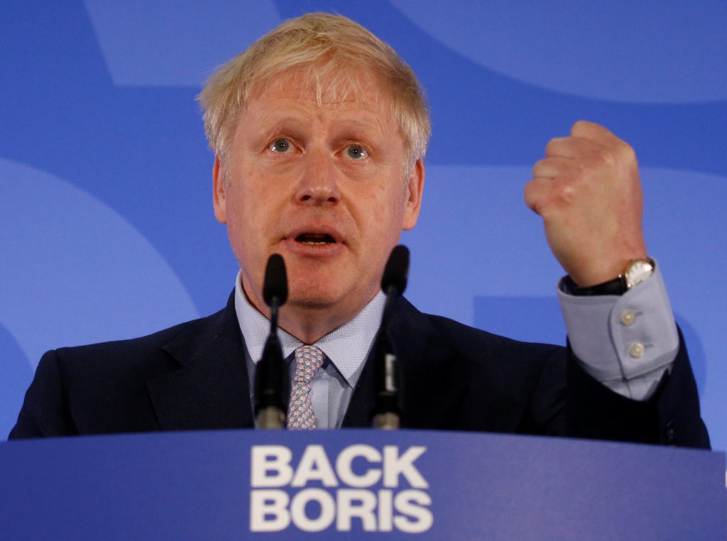 Conservative Party leadership candidate Boris Johnson gestures as he talks during the launch of his campaign in London, Br...