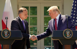 U.S. President Donald Trump and Poland's President Andrzej Duda hold a joint news conference in the Rose Garden at the White House in Washington, U.S., June 12, 2019. Photo by Kevin Lamarque/Reuters