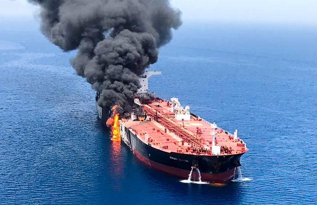 An oil tanker is seen after it was attacked at the Gulf of Oman, June 13, 2019. Photo by ISNA/Handout via REUTERS