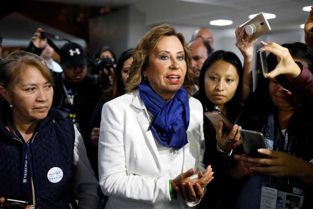 Sandra Torres, presidential candidate for the National Unity of Hope (UNE) talks to the media following the first round of presidential election, at the official voting result center in Guatemala City, Guatemala June 17, 2019. Photo by Luis Echeverria/Reuters