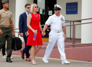 U.S. Navy SEAL Special Operations Chief Edward Gallagher leaves court with his wife Andrea after the first day of jury selection at the court-martial trial at Naval Base San Diego in San Diego, California, on June 17, 2019. Photo by Mike Blake/Reuters