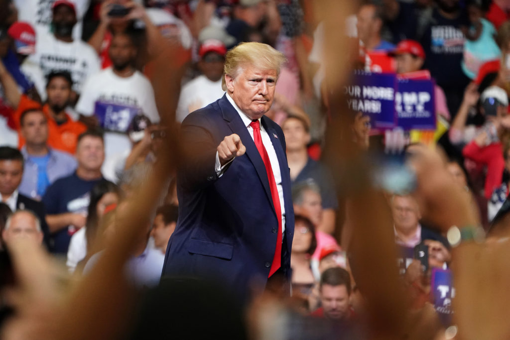 President Donald Trump speaks at a campaign kick off rally at the Amway Center in Orlando, Florida, on June 18, 2019. Phot...