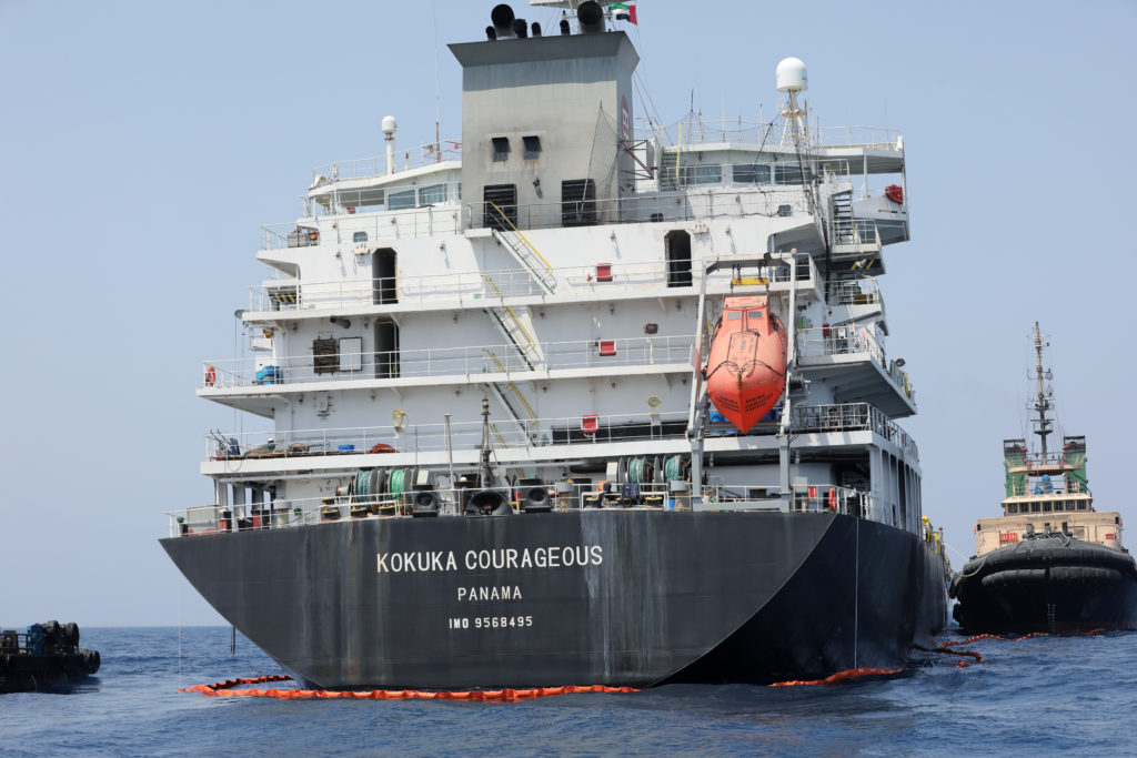 A general view of Japanese-owned Kokuka Courageous tanker off the coast of Fujairah, United Arab Emirates on June 19, 2019. Photo by Abdel Hadi/Reuters
