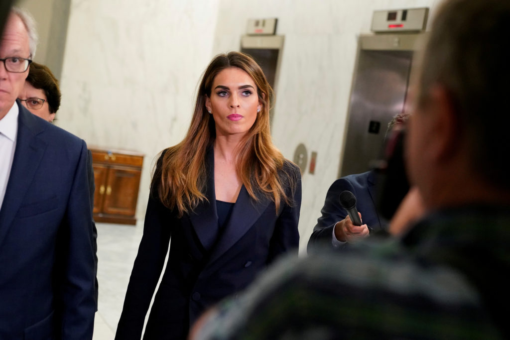Former White House Communications Director Hope Hicks returns to a closed door interview before the House Judiciary Committee following a break on Capitol Hill on June 19, 2019. Photo by REUTERS/Aaron P. Bernstein