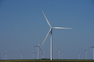 Wind turbines generate power on a farm near Throckmorton, Texas on August 24, 2018. Photo by Nick Oxford/Reuters