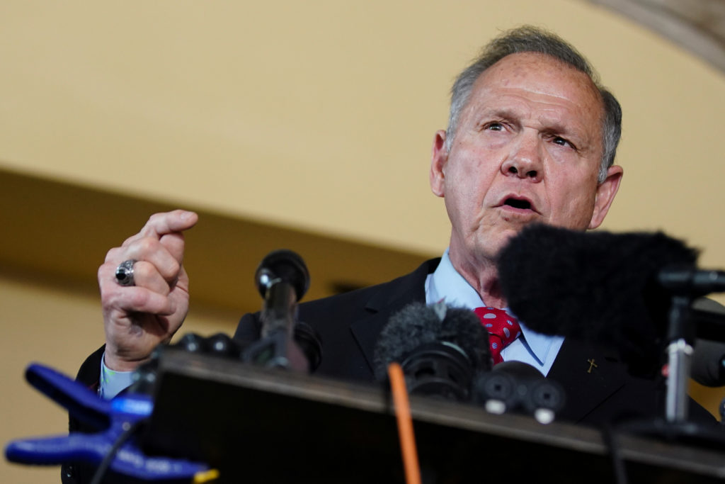 Roy Moore speaks at a news conference announcing his candidacy for U.S. Senate in Montgomery, Alabama, on June 20, 2019. Photo by Elijah Nouvelage/Reuters