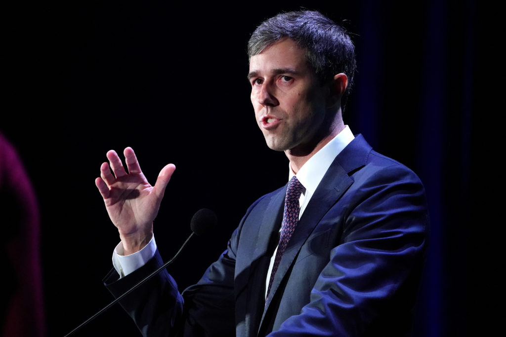 Democratic 2020 U.S. presidential candidate Beto O'Rourke speaks on stage at the Presidential Candidate Forum hosted by NALEO at Telemundo Center in Miami, Florida, on June 21, 2019. Photo by Carlo Allegri/Reuters