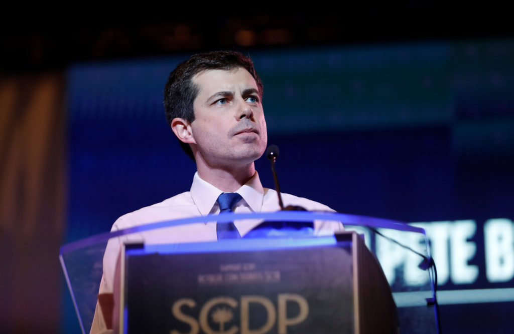 Democratic presidential candidate and South Bend Mayor Pete Buttigieg speaks at the SC Democratic Convention in Columbia, South Carolina, on June 22, 2019. Photo by Randall Hill/Reuters