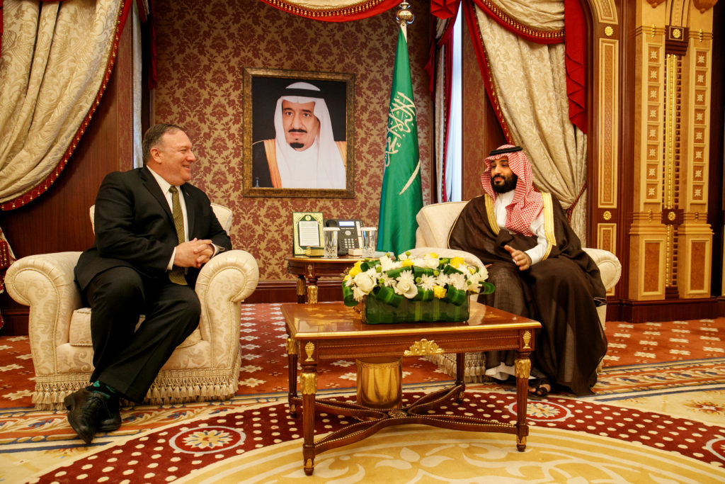 U.S. Secretary of State Mike Pompeo meets with Saudi Arabia's Crown Prince Mohammed bin Salman at Al Salam Palace in Jeddah, Saudi Arabia June 24, 2019. Photo by Jacquelyn Martin/Pool via Reuters