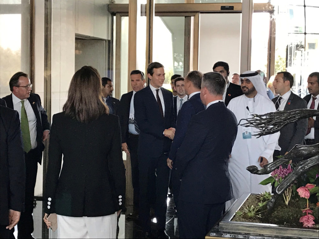 "White House senior adviser Jared Kushner and Treasury Secretary Steven Mnuchin arrive at Manama's Four Seasons hotel, the venue for the U.S.-hosted ""Peace to Prosperity"" conference, in Manama, Bahrain, June 25, 2019. Photo by Matt Spetalnick/Reuters"