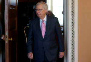 U.S. Senate Majority Leader Mitch McConnell leaves the weekly Republican Party caucus lunch meeting at the U.S. Capitol in Washington, on June 25, 2019. Photo by Leah Millis/Reuters