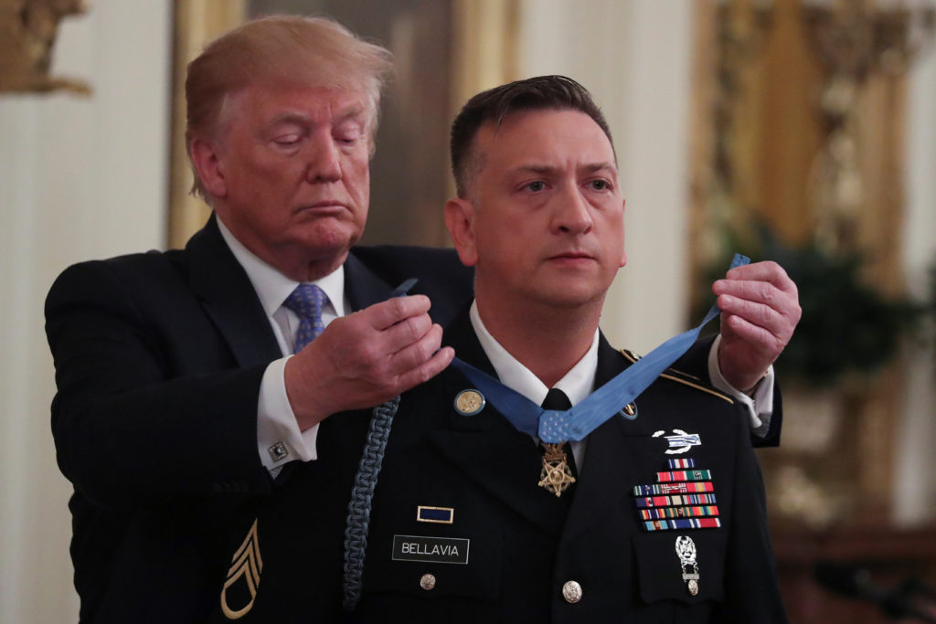 President Donald Trump awards the Medal of Honor to David G. Bellavia for actions taken while serving as an Army staff sergeant and squad leader in November 2004 in Fallujah, Iraq, in the East Room of the White House in Washington, on June 25, 2019. Photo by Jonathan Ernst/Reuters