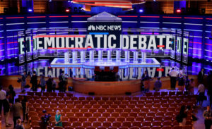 The stage of the first U.S. 2020 presidential election Democratic candidates debate is seen before the first 10 of 20 total Democratic candidates take the stage to start a debate that will be held over the course of two nights at the Adrienne Arsht Performing Arts Center in Miami, on June 26, 2019. Photo by Jim Bourg/Reuters