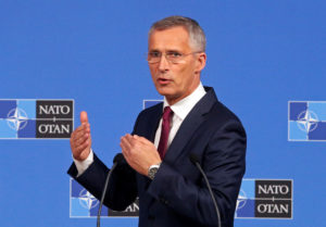 NATO Secretary-General Jens Stoltenberg speaks during a news conference after a NATO Defence Ministers meeting in Brussels, Belgium June 26, 2019. Photo by REUTERS/Francois Walschaerts
