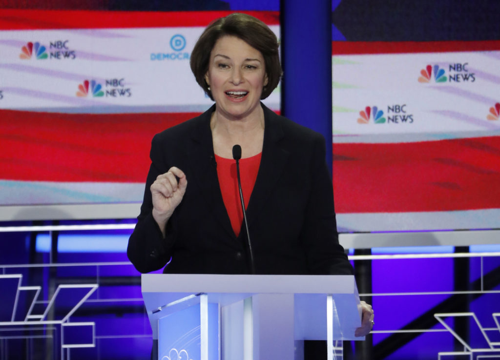 Senator Amy Klobuchar speaks at the first U.S. 2020 presidential election Democratic candidates debate in Miami, Florida, U.S., June 26, 2019. REUTERS/Mike Segar
