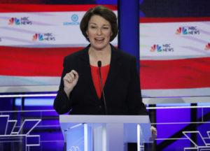 Senator Amy Klobuchar speaks at the first U.S. 2020 presidential election Democratic candidates debate in Miami, Florida, U.S., June 26, 2019. REUTERS/Mike Segar
