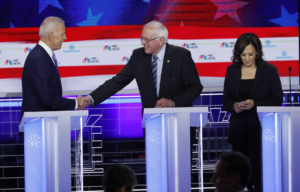 Candidates after the conclusion of the second night of the first U.S. 2020 presidential election Democratic candidates debate in Miami, Florida, U.S.