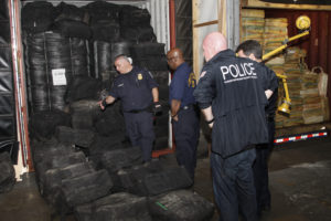 U.S. Customs and Border Protection and Homeland Security Investigations seized about 35,000 pounds of cocaine discovered in seven shipping containers on June 17, 2019. Photo courtesy: U.S. Customs and Border Protection