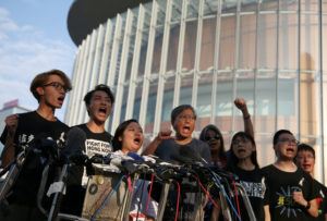 Members of Civil Human Rights Front hold a news conference in respo…