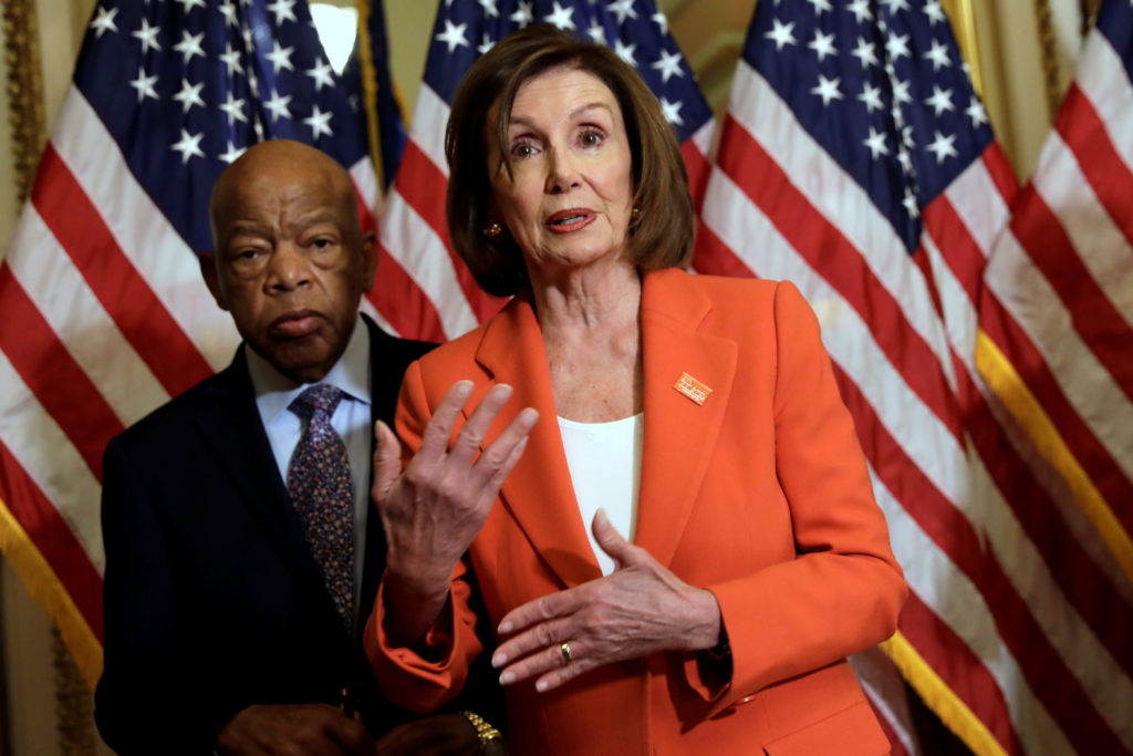U.S. House Speaker Nancy Pelosi (D-CA) declines questions from journalists about Iran after signing the Taxpayer First Act...