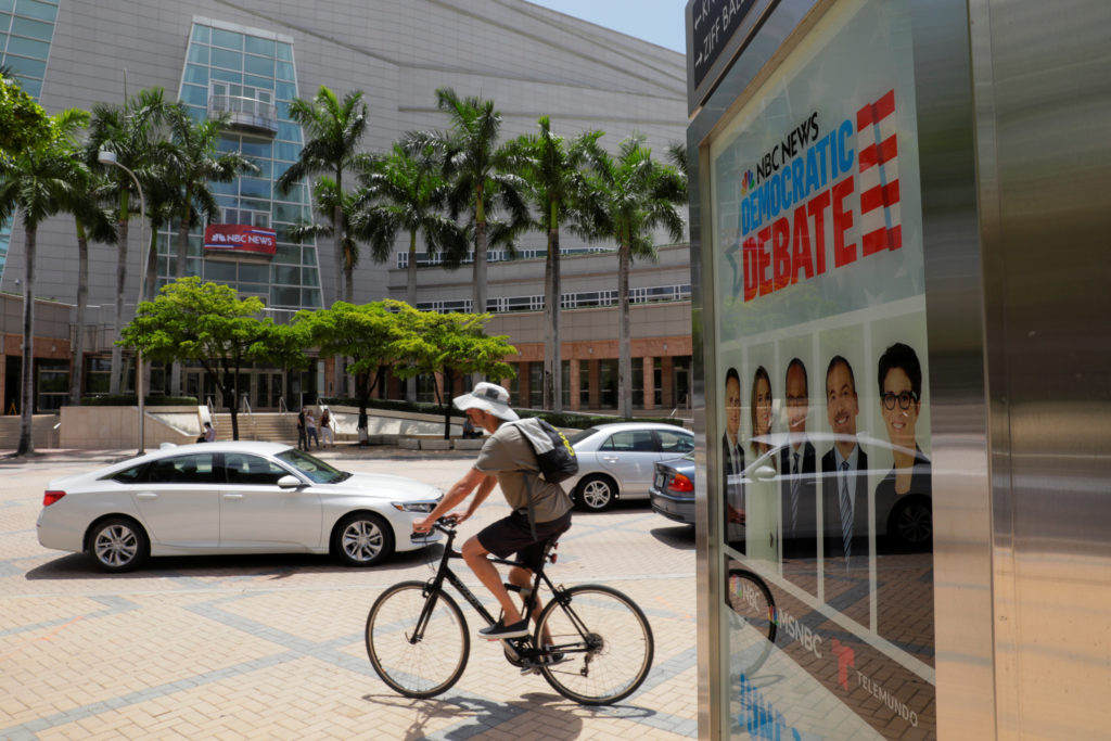 Traffic moves past Miami's Adrienne Arsht Performing Arts Center the day before 20 Democratic U.S. presidential candidates begin a two night debate that will be the first debate of the 2020 U.S. presidential election in Miami, U.S. June 25, 2019. REUTERS/Jim Bourg - RC1569AF6400