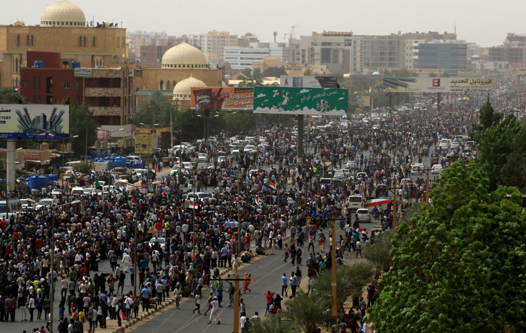 Tens of thousands of people march on the streets demanding the ruling military hand over to civilians, in the largest demonstrations since a deadly security service raid on a protest camp three weeks ago, in Khartoum, Sudan, June 30, 2019. Umit Bektas/Reuters
