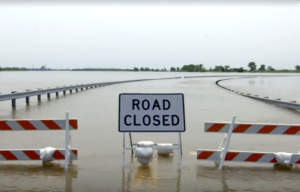 The Mississippi River is forcing hundreds of road closures in Missouri. Photo via Reuters video