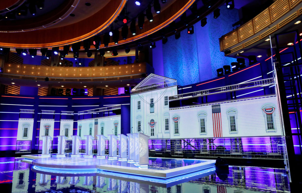 The candidates podiums wait empty on the stage of the first U.S. 2020 presidential election Democratic candidates debate b...