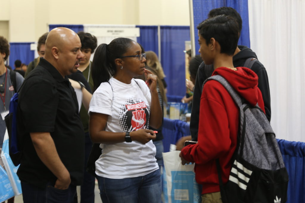 Students and counselors at the Greater Los Angeles National College Fair held at the Pasadena Convention Center. Photo by Iris Schneider