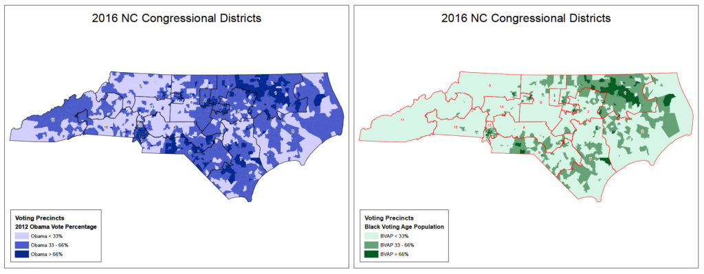 Maps show voting patterns and racial breakdowns atop 2016 congressional districts in North Carolina. Courtesy of Southern Coalition for Social Justice.